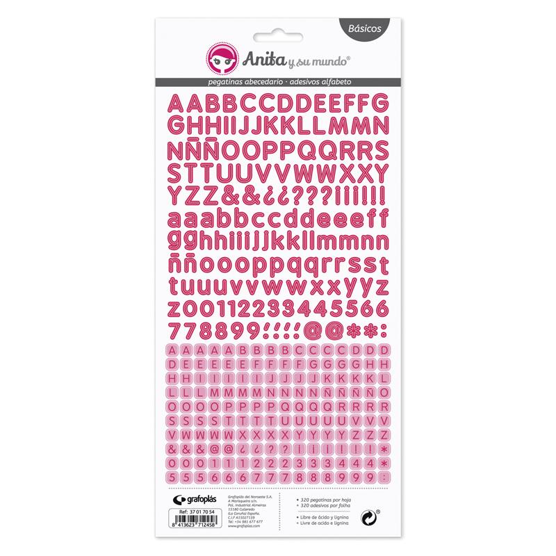 Abecedario de pegatinas de color fucsia de Anita y su mundo para proyectos scrapbooking