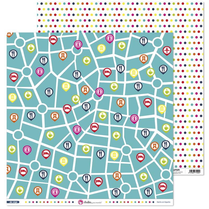 Papel estampado iconos de mapa de viaje para scrapbooking de la colección De Viaje de Anita y su mundo