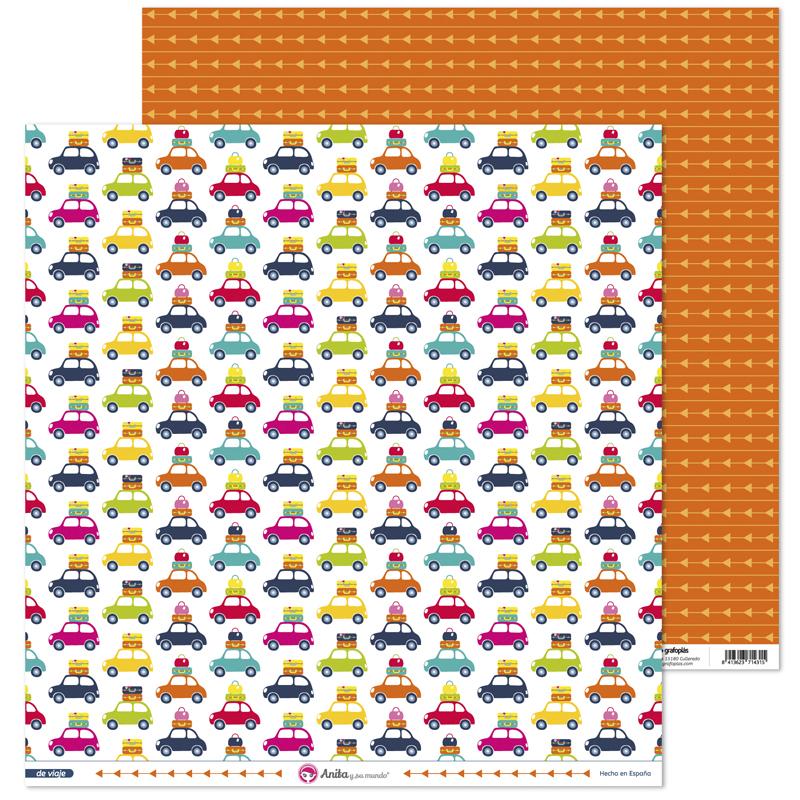 Papel estampado iconos de coches para scrapbooking de la colección De Viaje de Anita y su mundo