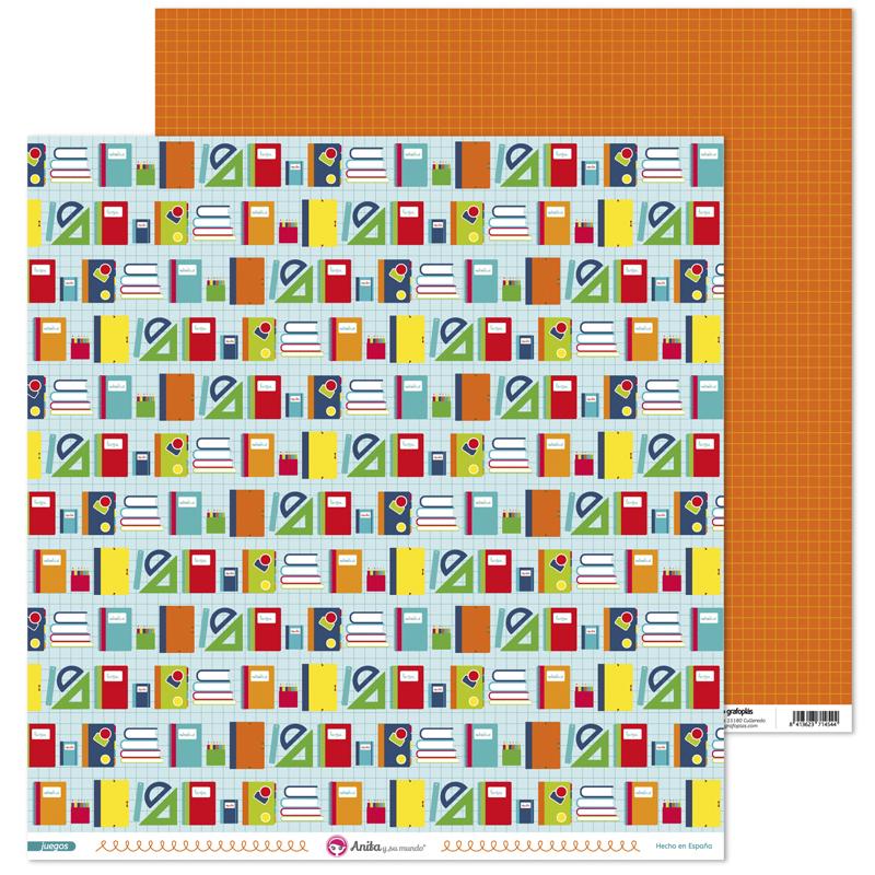 Papel estampado material escolar para scrapbooking de la colección Juegos de Anita y su mundo