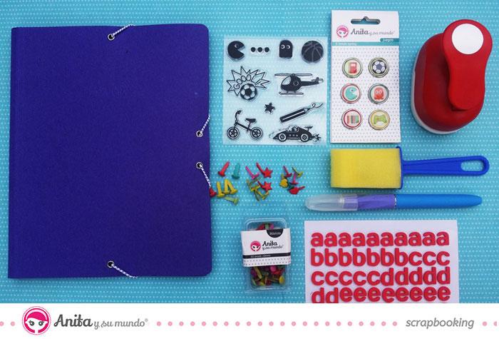 Materiales de scrapbooking para modificar una carpeta