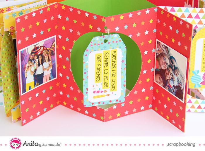 Ejemplo de Interior Mini album en forma de estrella hecho con papeles de scrapbook