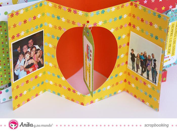 Interior Mini album en forma de estrella desplegado hecho con papeles de Anita y su mundo