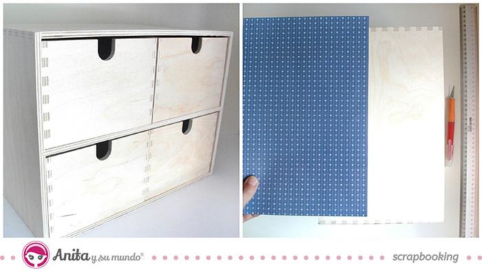 idea scrap: decorar cajones con papel scrapbook - Paso 1