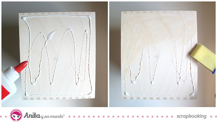 idea scrap: decorar cajones con papel scrapbook - Paso 2