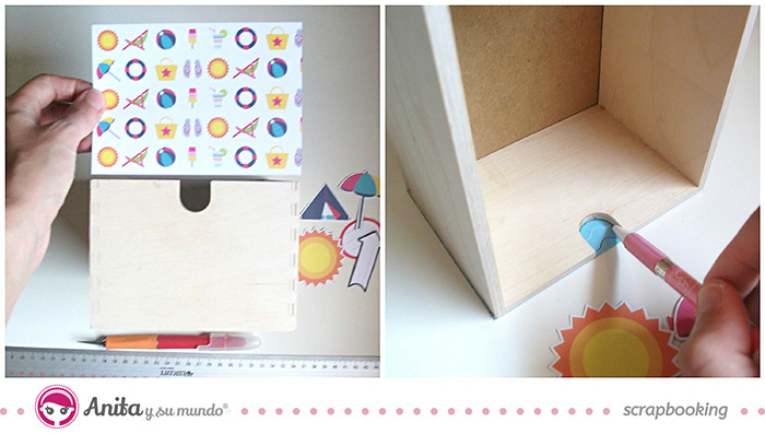 idea scrap: decorar cajones con papel scrapbook - Paso 3