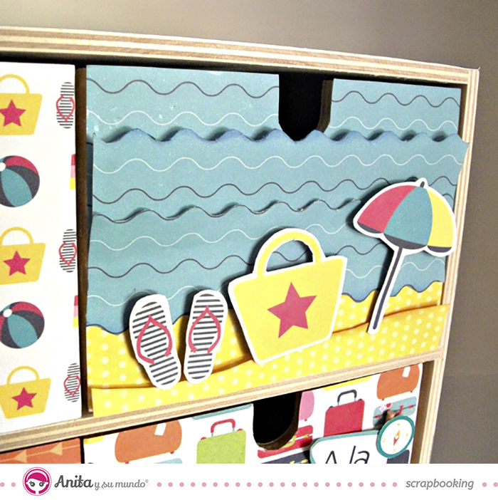 idea scrap: decorar cajones con papel scrapbook - Detalle 3