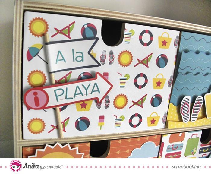 idea scrap: decorar cajones con papel scrapbook - Detalle 2