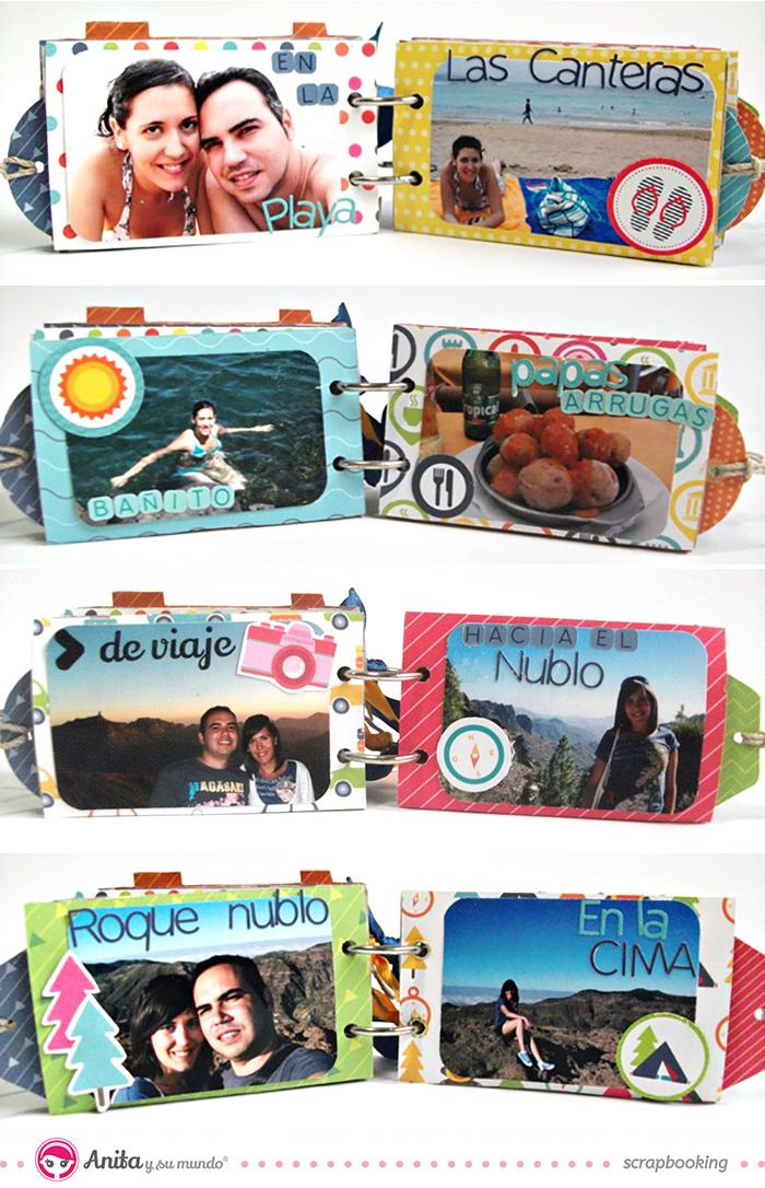 Mini álbum hecho con papel scrapbook y rollos de papel higiénico - Decoración interior