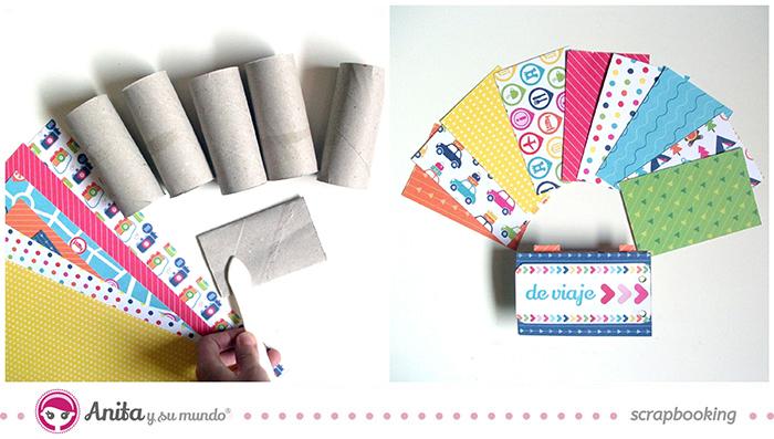 Tutorial Mini álbum hecho con papel scrapbook y rollos de papel higiénico - paso 1