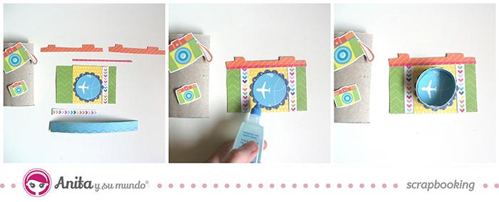 Tutorial Mini álbum hecho con papel scrapbook y rollos de papel higiénico - paso 4