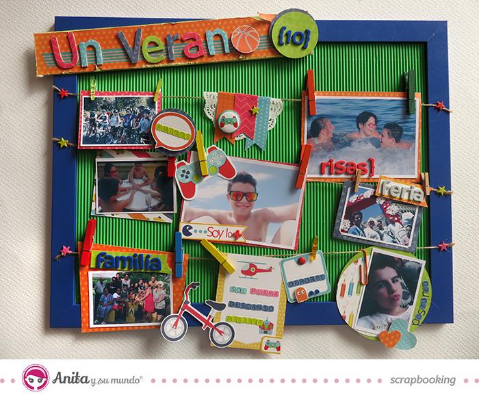 Marco de fotos 3D con papel scrapbook de la marca Anita y su mundo