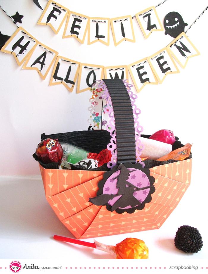 Decoración para Halloween: cestas hechas con papel scrapbook