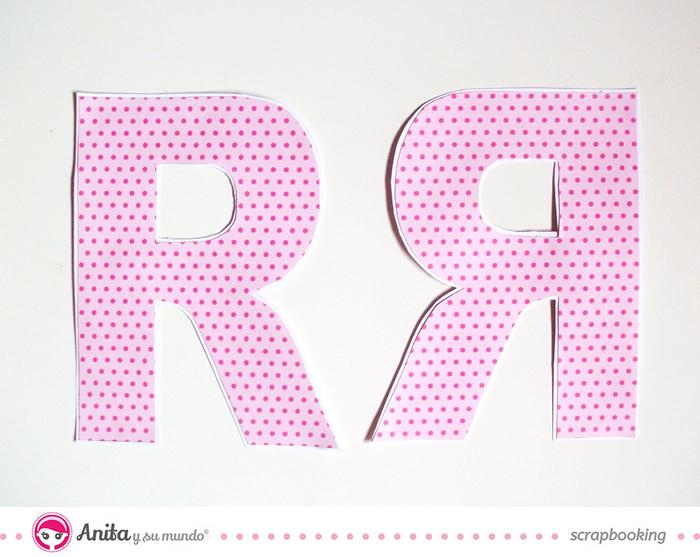 Tutorial para hacer y decorar una letra utilizando papel scrapbook - Paso 2
