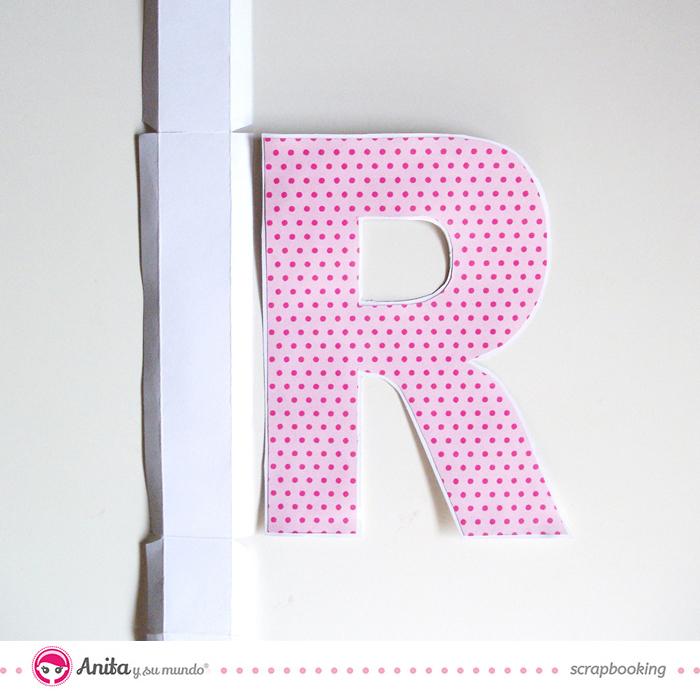 Tutorial para hacer y decorar una letra utilizando papel scrap - Paso 3