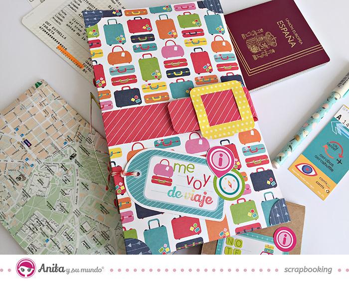 Portadocumentos de viaje hecho con papeles de scrapbooking