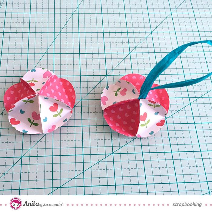 Cómo hacer Bolas de Navidad con papel scrap 5