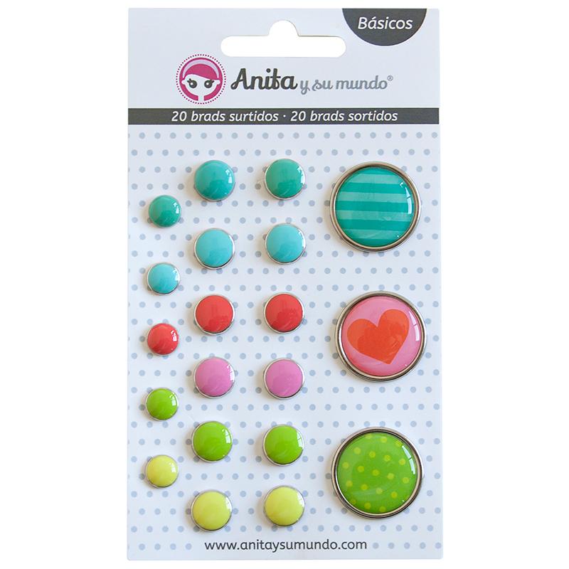 Brads colores vivos de Anita y su mundo scrapbooking