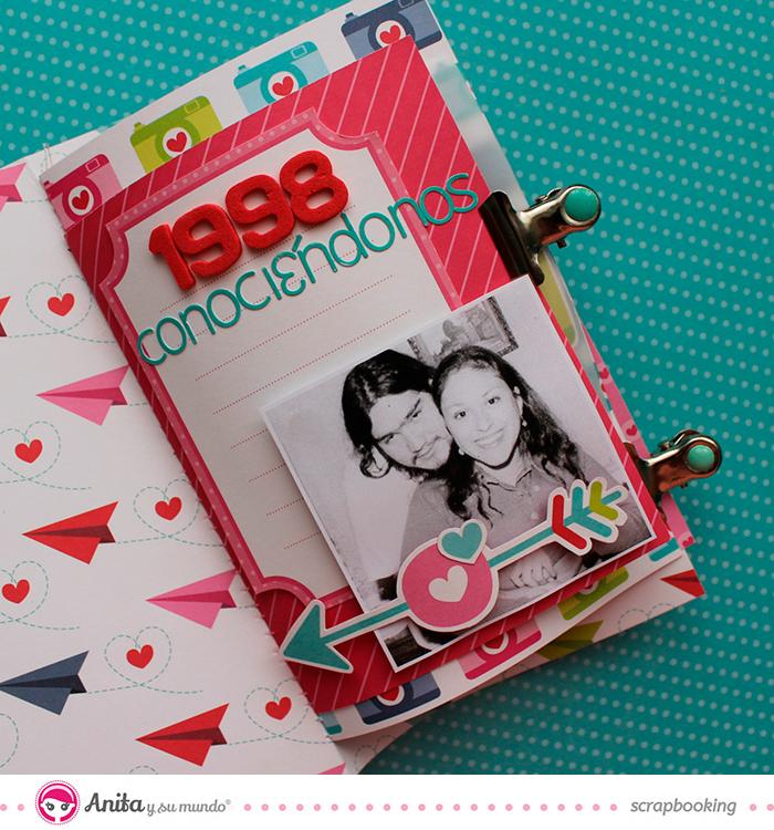 Decoración álbum San Valentín ANita y su mundo scrapbooking