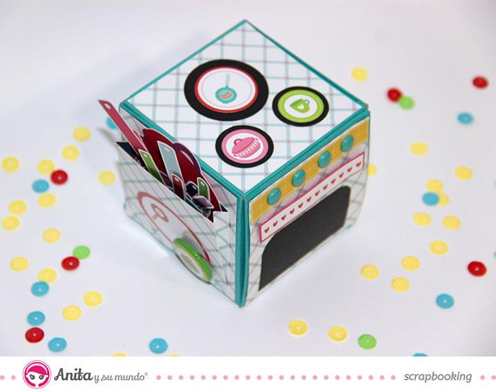 Scrap idea: cocina de papel con mini álbum en el interior