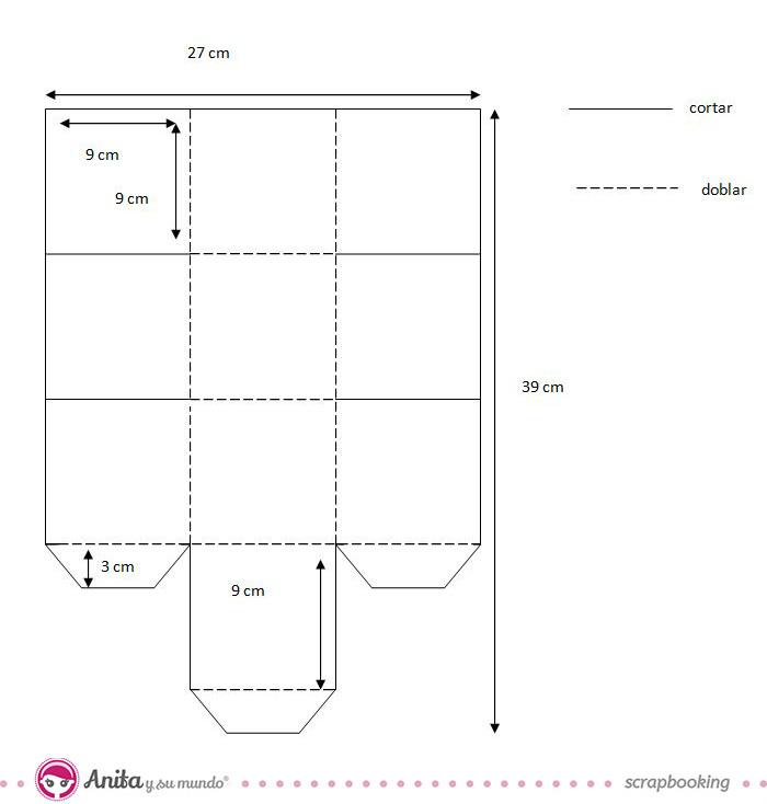 plantilla cubo de papel