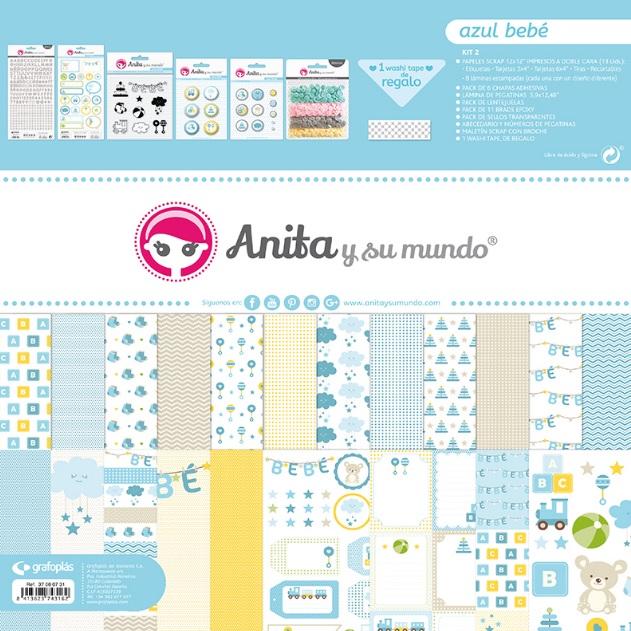 Maletín de scrapbooking de la colección Azul Bebé de Anita y su mundo