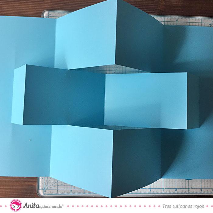 cómo hacer estructura zigzag álbum scrapbooking