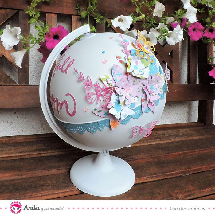 decorar globo terráqueo con colección scrap mi jardín