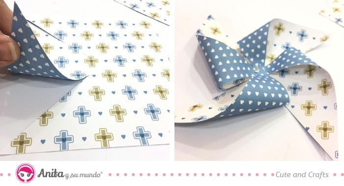 cómo hacer molinillo de papel de scrapbooking