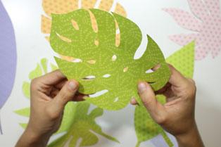 hojas tropicales papel scrapbooking