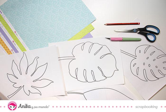 materiales necesarios hojas tropicales de papel