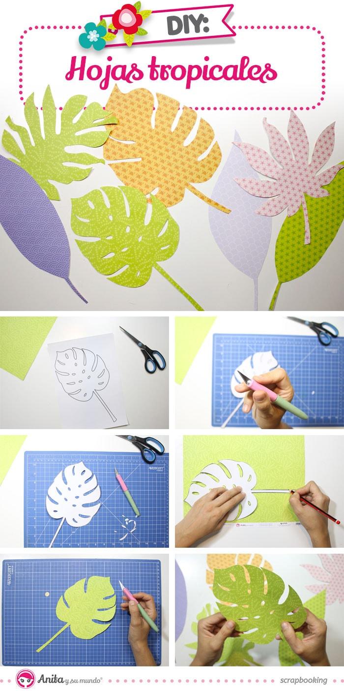 cómo hacer hojas tropicales con papel
