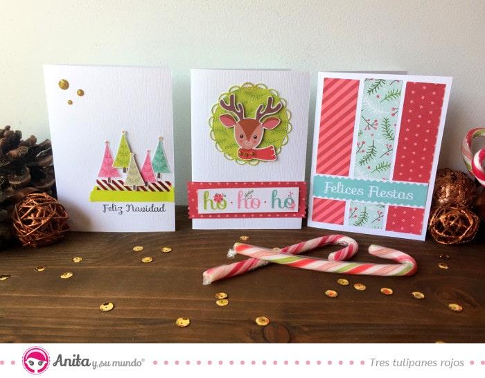 tarjeta navidad tres tulipanes rojos