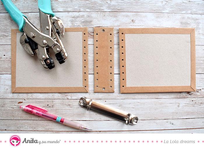 medidas para hacer una encuadernación con cosido