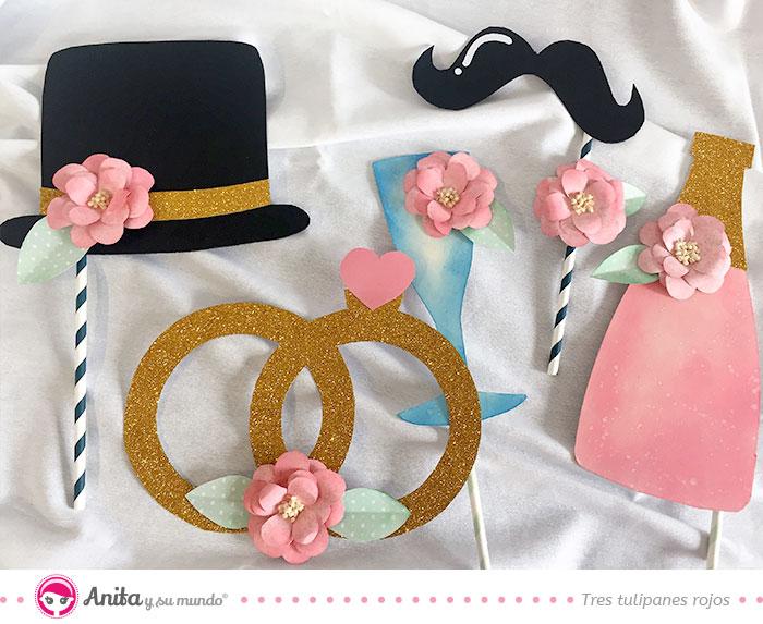 accesorios para photocall de bodas