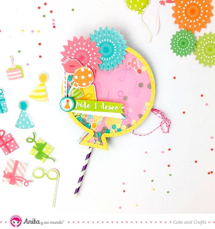 album de cumpleaños scrap con forma de globo