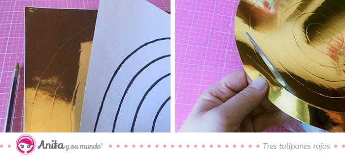 como hacer una guirnalda en espiral con cartulina metalizada