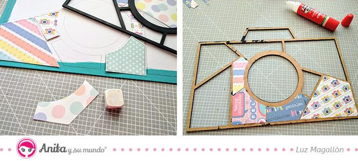 como decorar un marco con papeles bonitos