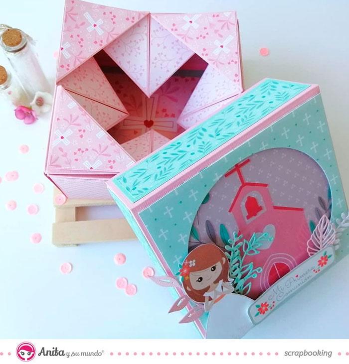 detalle de caja de papel para comuniones